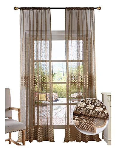 BW0057 Retro Chinese Style Clover Embroidered Sheer Curtains Home Decoration for Bedroom Living Room (1 Panel, W 50 x L 63 inch, Brown) 1980685C1BYBBN15063-8516 Chinese Embroidered Silk Panel