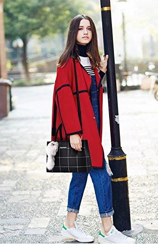 cartella Crossbody Nero lavoro leggero NICOLE del donne PU di messaggero della tracolla modo Tote Signore a moda di amp;DORIS borsa alla Rosa borsa BPwZqxUB