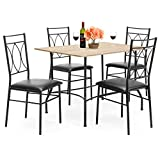 Best Choice Products 5-Piece Dining Set w/Wood Table, Metal Chairs, Faux Leather Seats - Black