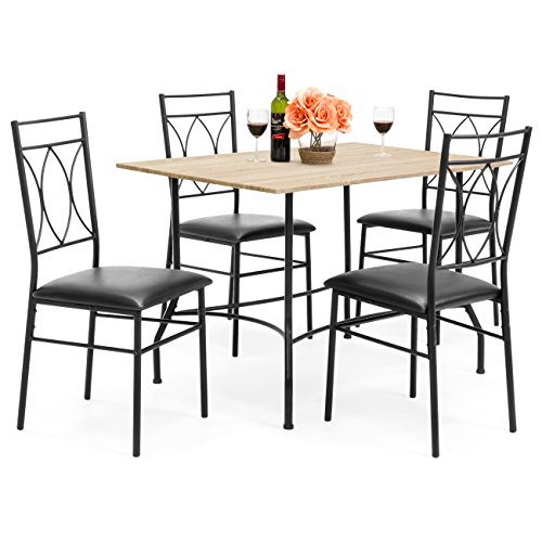 Best Choice Products 5 Piece Dining Set, Wood Table & Metal Chair w/ Faux Leather Seats – Black