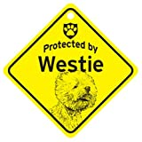 KC Creations Westie West Highland Terrier Protected By Dog Sign And Caution Gift
