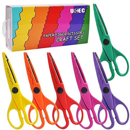 UCEC 6 Kids Craft Scissors, Colorful Decorative Paper Edge Scissors Set, Great for Teachers, Students, Crafts, Scrapbooking, DIY Photos, Album
