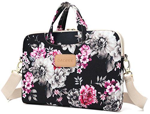 DACHEE Black Rose Pattern Laptop Shoulder Messenger Bag Case Sleeve for 14 Inch 15 Inch 15.6 inch Laptop 15 laptop Case bag