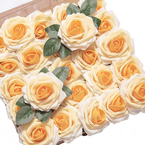 Ling's moment Artificial Flowers 25pcs Real Looking Yellow Heirloom Fake Roses w/Stem for DIY Wedding Bouquets Centerpieces Bridal Shower Party Home Decorations