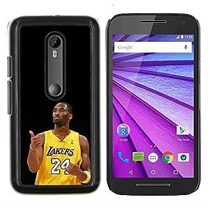 Laker 24 Kobe- Metal de aluminio y de plástico duro Caja del teléfono - Negro - Motorola Moto G (3rd gen) / G3