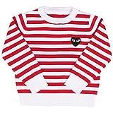Maylife Little Girls Round Neck Striped Fine Knit Basic Solid Fine Knit Warm Sweatshirt Pullover