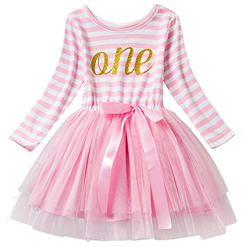 NNJXD Girl Shinny Stripe Baby Girl Long Sleeve Printed Tutu Dress Light Pink 10-12 Months (One Year Old Birthday Outfit compare prices)