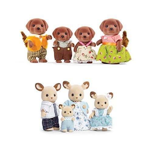 Calico Critters Familiy Set Featuring Buckley Deer Family & Chocolate Labrador Family- 2 Items Bundled by Maven Gifts]()
