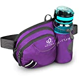 WATERFLY Waist Bag with Water Bottle Holder Hiking Fanny Pack Jogging Traveling Cycling