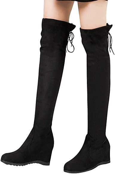 T-JULY Autumn Winter Stretch Flock Thigh High Boots Women High Heels Over The Knee Boots Black