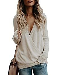 Women's Knitted Deep V-Neck Long Sleeve Wrap Front Loose...