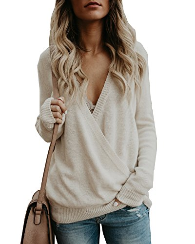 PRETTYGARDEN Women's Knitted Deep V-Neck Long Sleeve Wrap Front Loose Sweater Pullover Jumper (Beige, X-Large)