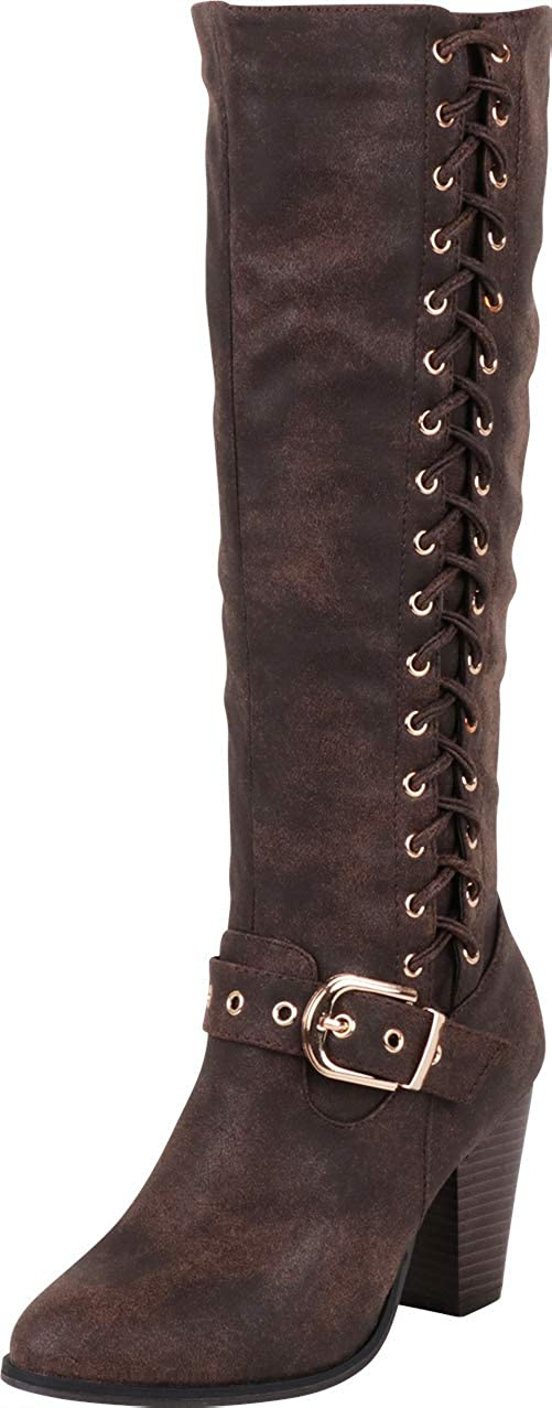 Brown Pu Cambridge Select Women's Corset Side Lace Strappy Buckle Chunky Stacked Heel Mid-Calf Boot