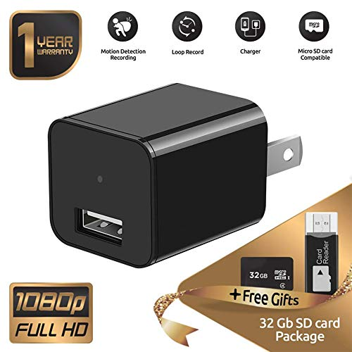 Hidden Spy Camera [Newest model] Smart Mini Spy Charger with Motion Detection and Loop Recording - Storage up to 32GB Improved 2019