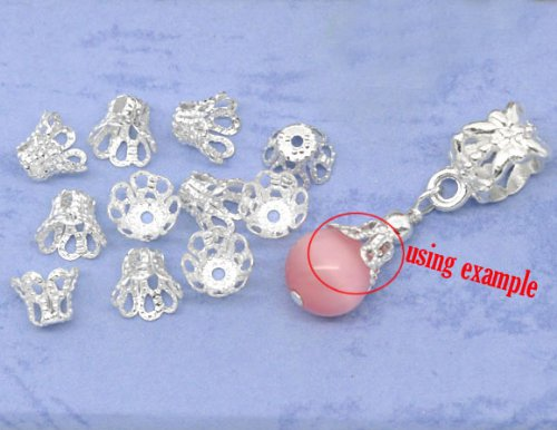 200pc Antique Silver Flower Bead Caps 6x5mm Beading Supplies [Office Product] ()