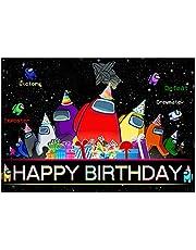 Among Us - Decoración de telón de fondo para videojuegos, fotografía, fiestas, suministros para cumpleaños, para niñas, niños, vídeo, fotos en vivo, DJ, karaoke, discoteca, pancarta de decoración de 4.1 x 2.6 pies