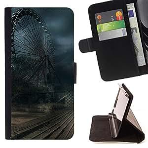 For Samsung GALAXY E5/E500F Case,Samsung Galaxy E5 Ferris Wheel Storm Winter Rustic Dark Style PU Leather Case Wallet Flip Stand Flap Closure Cover