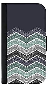 Dark Blue Colorblocked Glitter Chevrons - Apple Iphone 4/4s -Wallet Case with Flip Cover and Magnetic Clasp-Leather-Look