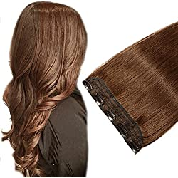 Clip in Hair Extension Human Hair One piece Medium Brown #4 Long Straight Real Remy Hair Natural Soft Easy to wear 3/4 Full Head 5 Clips (16'' #4)