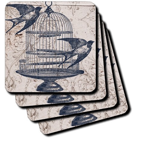 3dRose cst_110264_1 Vintage Birds with Bird Cage Steampunk Art-Soft Coasters, Set of 4