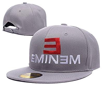 BARONL E Eminem Logo Adjustable Snapback Caps Embroidery Hats - Grey