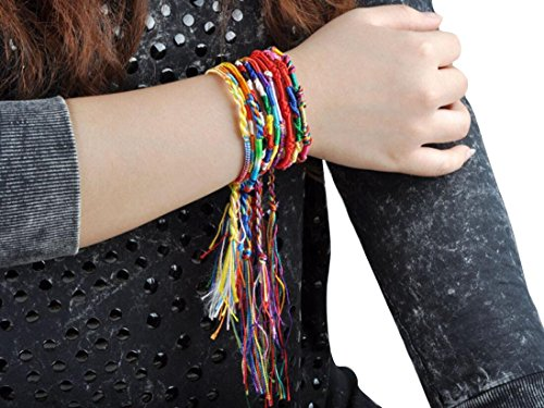 Franterd 50Pcs Handmade Bracelets Lot Braid Strands Friendship Cords Chain Jewelry