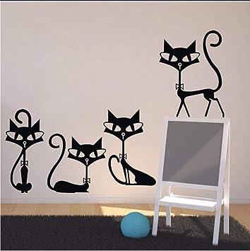 cmdyz Animales Cuatro Gatos Negros Etiqueta de La Pared Para Niños Habitación Decoración de la pared