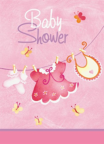 - Pink Clothesline Girl Baby Shower Invitations, 8ct
