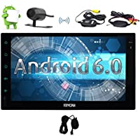 Android 6.0 Marshmallow Car Stereo with Dual Cam-in touch screen In Dash Double Din Vehicle Radio Receiver 7 GPS Navigation Entertainment System External Microphone+Wireless Backup Camera