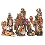 10 Piece Resin Nativity Set with Animals and Removable Baby