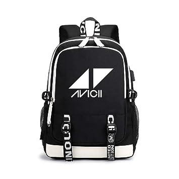 Unisex DJ Avicii Mochila de Lona Portátil Mochila para Portátiles Ordenador Mochilas Escolares Juveniles con USB Puerto de Carga para Mujeres y Hombres: ...