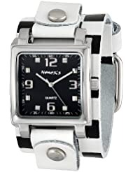 Nemesis Womens WCHB516K Lite SQ Collection Checkered White/Black Leather Band Watch