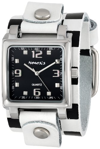Women's WCHB516K Lite SQ Collection Checkered White/Black Leather Band Watch