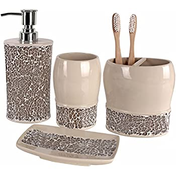 Marvelous Creative Scents Broccostella Bath Ensemble, 4 Piece Bathroom Accessories Set,  Broccostella Collection Bath Set