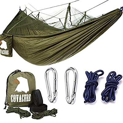 Covacure Camping Hammock Lightweight Portable Double Parachute Hammocks, Mosquito Nylon Hammock for Indoor,Outdoor, Hiking, Camping, Backpacking, Travel, Backyard, Beach from COVACURE