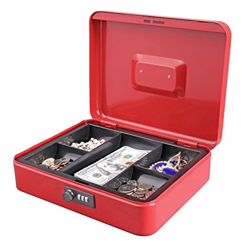 (Jssmst Large Cash Box with Combination Lock - Durable Metal Cash Box with Money Tray, Red, 11.81 x 9.84 x 3.46 inches, CB0703XL)