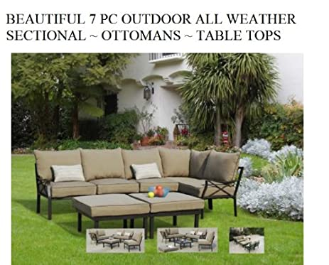 Outdoor 7 Pc Sectional Patio Furniture Deep Seating Cushions ~ Ottomans