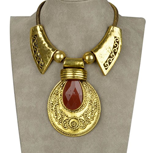 SUMAJU Statement Necklace, Bib Collar Statement Necklace Pendant Vintage Lucite Carved (Lucite Pendant)