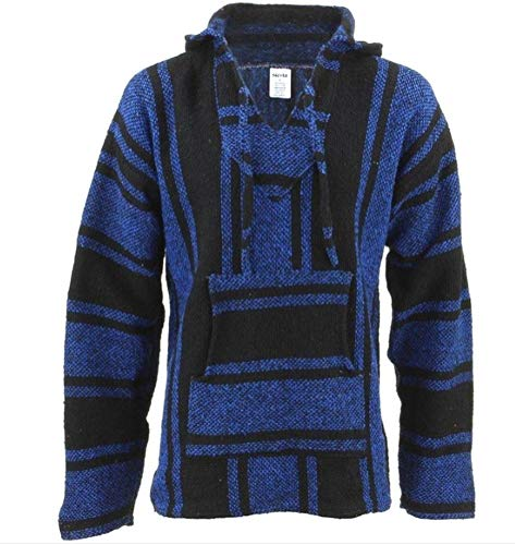 Mexican Baja Hoodie Hippie Surf Poncho Sweater Sweatshirt Pullover Jerga (X-Large, Blue/Black)