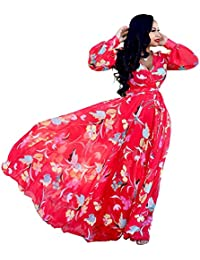 Womens Stylish Chiffon V-Neck Printed Floral Maxi Dress with Waisted Belt Plus Size