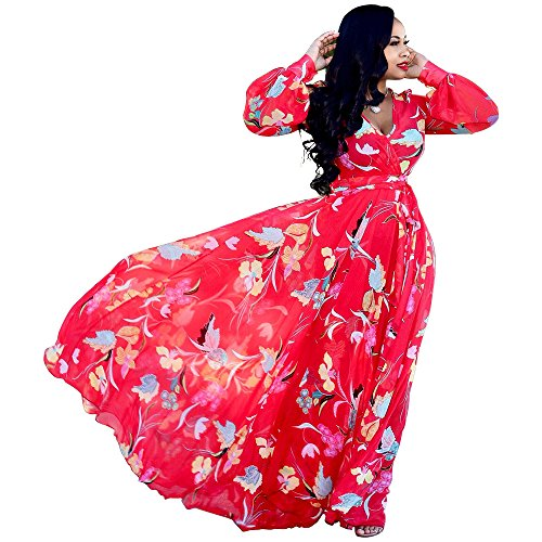 Floral Wrap Chiffon (Nuofengkudu Womens Chiffon Deep V-Neck Printed Floral Maxi Dress Long Sleeves Dresses High Waisted Plus Size (Red))
