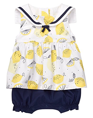 - Gymboree Baby Girls Lemon Sailor Onesie, Print, 0-3 Mo