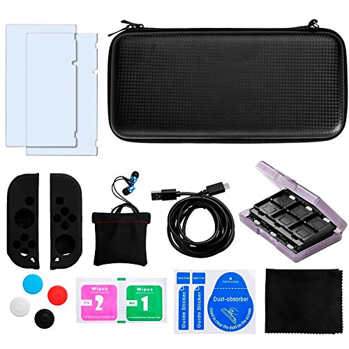 Accessories for nintendo switch, Carry case compatible with nintendo switch, Black protective travel carry case with 2 glass screen protectors with 1 game card case and other accessories for nintendo