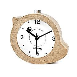 Wood Alarm Clock-Fibisonic Silent Wooden Animal Analog Snooze Yellow birds Desk Quartz Clock Night light Indoor Clock for Kids/Friends/Heavy Sleepers