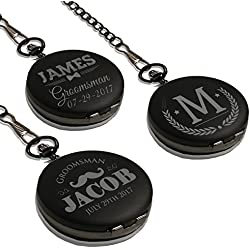 Monogrammed Quartz Black Pocket Watch - Personalized Groomsmen Wedding Gifts - Engraved Free - WPS Styles