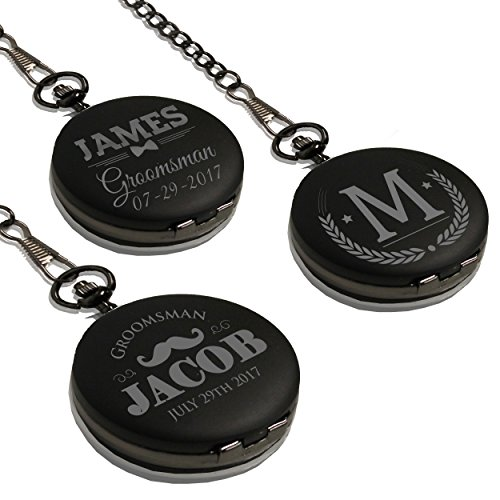 Monogrammed Quartz Black Pocket Watch - Personalized Groomsmen Wedding Gifts - Engraved Free - WPS Styles by My Personal Memories