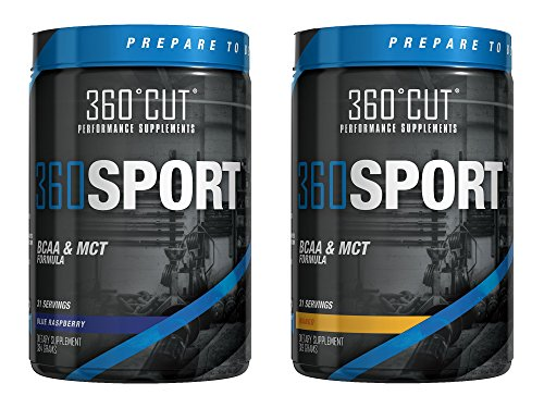 360Cut 360 Sport Instantized BCAA and All Natural MCT Oil Formula Blue Raspberry 31 Servings/ Mango 31 Servings [1 of Both]
