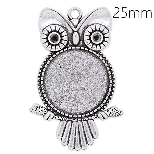 (20pcs- Antique Silver Plated Owl Pendant Trays with 25mm Round Blank Bezels )