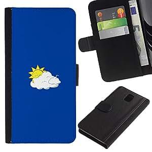 SHELLINA Foto Voltear Cuero Duro Funda Ranura Tarjeta TPU Carcasas Para Smartphone Samsung Galaxy Note 3 III N9000 N9002 N9005 - divertido sol y nubes