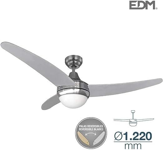 Ventilador de techo EGEO 60W 106cm cromado 2xE14 con mando a distancia EDM 33804: Amazon.es: Hogar